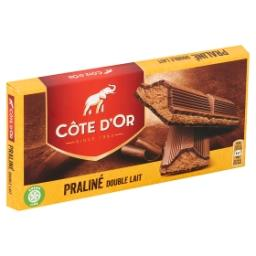 Tablette de chocolat double lait fourré au praliné