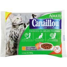 Emincés en gelée dinde et saumon pour chats adultes