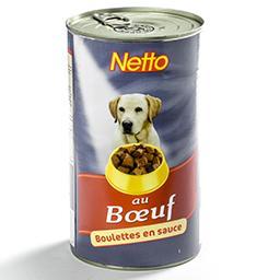 Aliment pour chien - boulettes en sauce - au bœuf