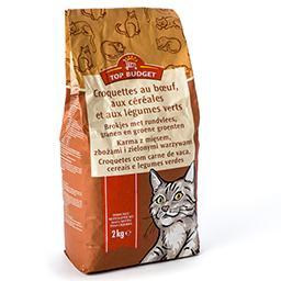Croquettes pour chats au bœuf, aux céréales et aux l...