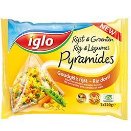 Pyramide vapeur au riz doré et aux légumes