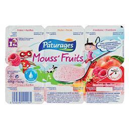 Fromage frais Mouss'Fruits pêche/fraise/framboise