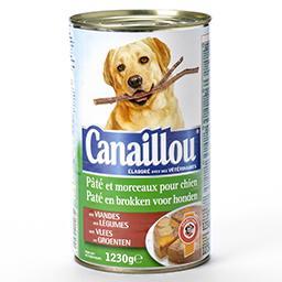Pâté et morceaux pour chiens - aux viandes et aux lé...