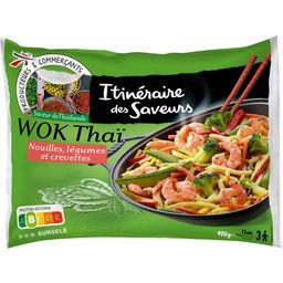 Wok thaï - nouilles, légumes et crevettes