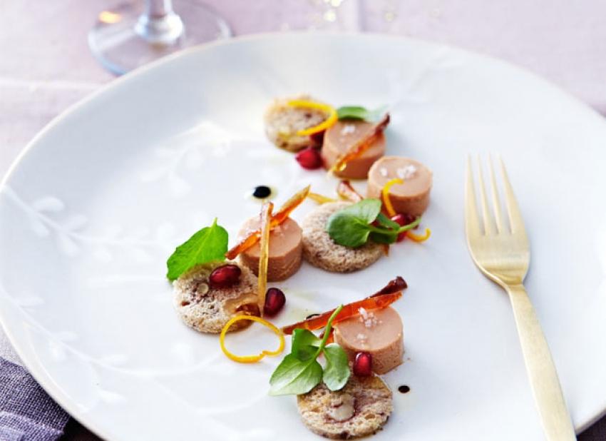 Foie gras et lamelles de zestes d'orange