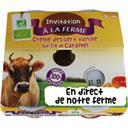 Invitation à la ferme Crème dessert vanille sur lit de caramel BIO et local Les 4 pots de 100g