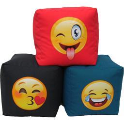 Pouf assise émoticônes 40 cm coloris assortis