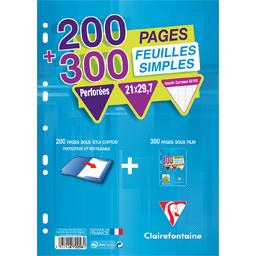 Feuilles simples blanches perforées  210x297 seyes