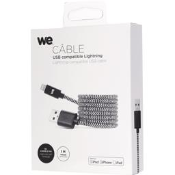 Câble USB/lightning nylon tressé 1 m, noir