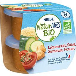 Nestlé Naturnes Légumes du soleil semoule poulet BIO, dès 6 mois les 2 pots de 190 g