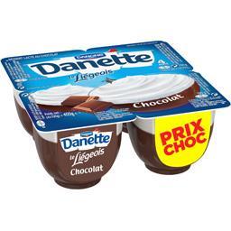 Danone Danette - Crème dessert Le Liégeois chocolat les 4 pots de 100 g
