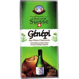 Chocolat au lait suisse fourré Génépi liquide