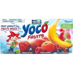 Fruits, yaourt brassé sucré, à la pulpe de fruits