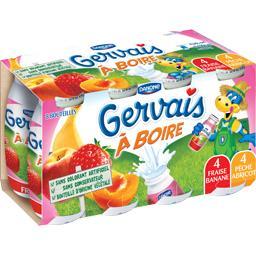 Gervais - Yaourt à boire aux fruits, banane/fraise, pêche/abricot