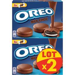 Oreo Biscuits cacaotés enrobés chocolat lait les 2 boites de 246g