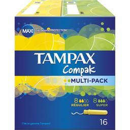 Compak - Tampons avec applicateurs, 8 super, 8 régulier, duo-pack