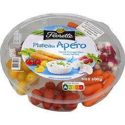 Plateau apéro, assortiment de légumes + sauces