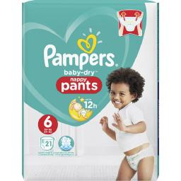 Pampers Couches culottes Baby Dry taille 6 : 16 + kg le paquet de 21 couches