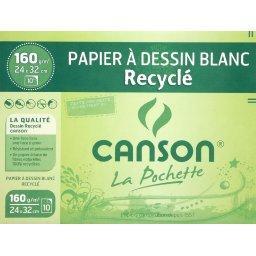 Papier dessin blanc recyclé - 24x32cm - 160g/m², la ...