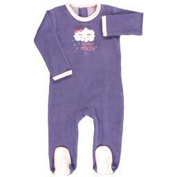 Dors bien velours fille 6 mois violet