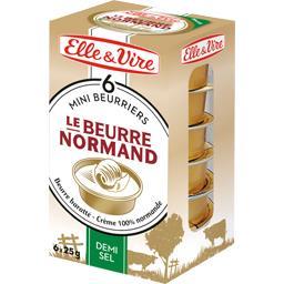 Elle & Vire Mini beurriers Le Beurre Normand demi-sel les 6 plaquettes de 25 g