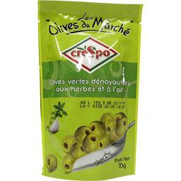 Olives vertes dénoyautées aux herbes et à l'ail