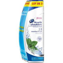 Head & Shoulders Menthol fresh 2 en 1 - shampooing antipelliculaire Les 3 flacons de 255 ml