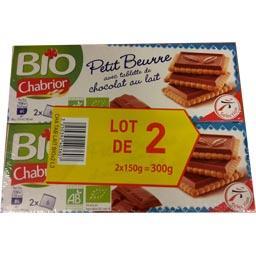 Bio Chabrior Petit beurre avec tablette de chocolat au lait BIO les 2 boites de 150g