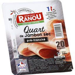 Monique Ranou Quart de jambon sec pré-tranché la barquette de 20 tranches - 240 g