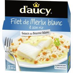 Filet de Merlu blanc & son riz blanc sauce au beurre...