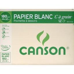 Papier dessin blanc C grain - 24x32cm - 180g/m², la ...