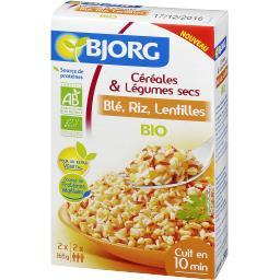 Céréales & légumes secs blé, riz, lentilles BIO