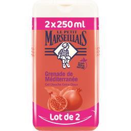 Le Petit Marseillais Gel douche extra doux grenade de Méditerranée les 2 flacons de 250 ml