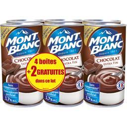 Mont Blanc Crème dessert chocolat extra fin les 4 boites de 570 g