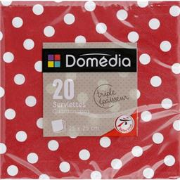 Serviettes 3 plis, pliage 1/4 25x25 cm, rouge Dots