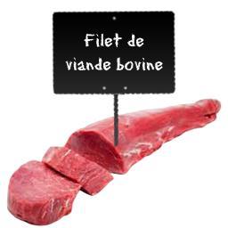 Le choix du Boucher Filet de viande bovine, RACE A VIANDE LIMOUSINE à partir de 250 gr environ