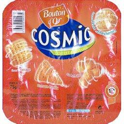Cosmic coffret 4 saveurs, assortiment de biscuits soufflés à base de céréales et de pomme de terre, saveur fromage, toma