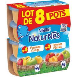 Naturnes Desserts pommes/coings et pommes/pêches, dès 4/6 moi... les 8 pots de 130 g