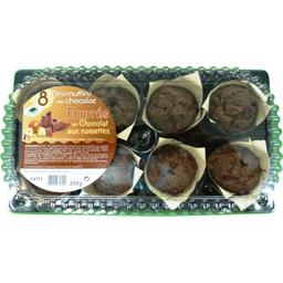 Délices des 7 Vallées Mini muffins au chocolat fourrés au chocolat aux noi... la barquette de 8 - 208 g