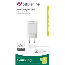 Kit chargeur secteur Samsung USB 5W + câble micro USB noir