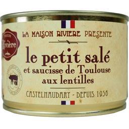 Le petit salé et saucisse de Toulouse aux lentilles