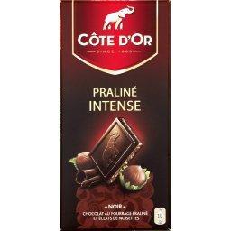 Praliné intense noir, chocolat noir fourré au praliné et aux éclats de noisettes