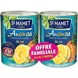 St Mamet Ananas en tranches les 2 boites de 345 g
