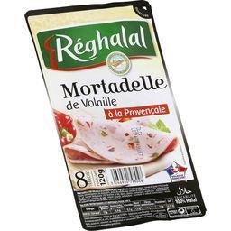 Réghalal Mortadelle de volaille à la provençale halal la barquette de 8 tranches - 120 g