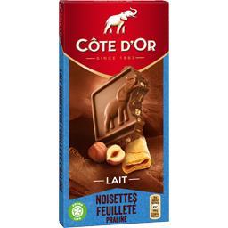 Chocolat au lait noisettes feuilleté praliné