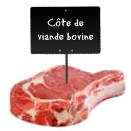 Le choix du Boucher Côte de viande bovine, RACE A VIANDE LIMOUSINE à partir de 900 gr environ
