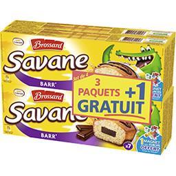 Brossard Savane - Gâteaux Barr' fourrés chocolat le lot de 3 boites de 189 g