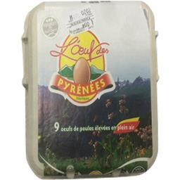 L'œuf de rey Oeufs de poules élevées en plein air calibre moyen La boite de 9