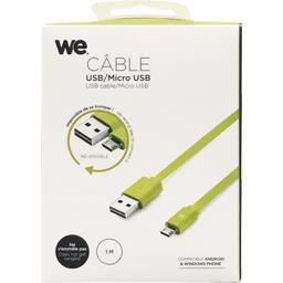 Câble USB/micro USB plat réversible 1 m vert