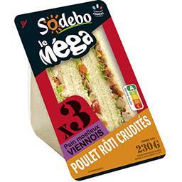 Sandwich poulet rôti crudités, pain viennois - Le Mé...